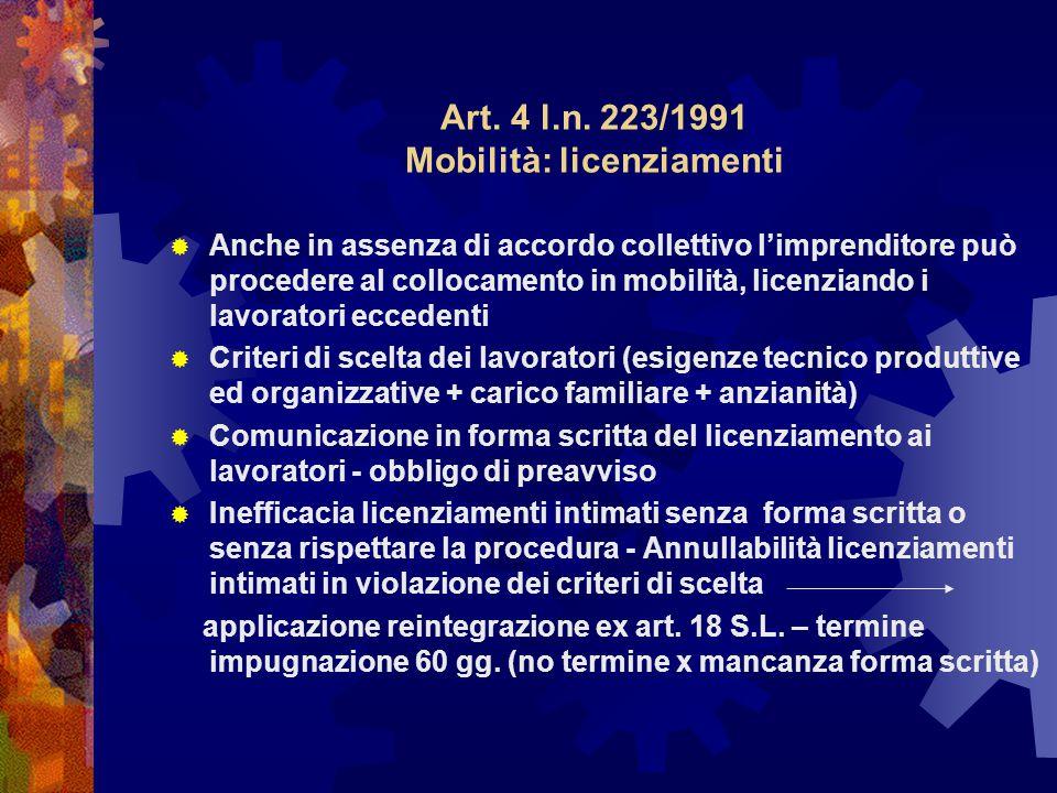 Art. 4 l.n. 223/1991 Mobilità: licenziamenti