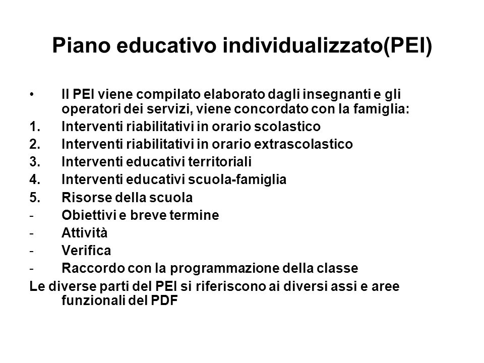 Piano educativo individualizzato(PEI)