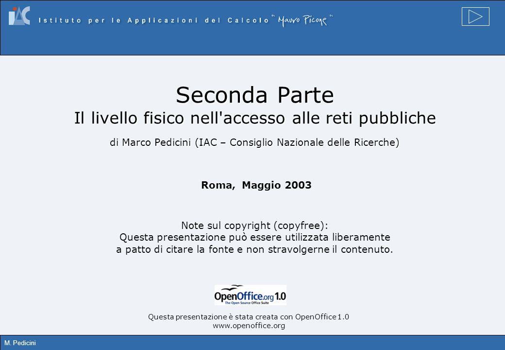 Seconda Parte Il livello fisico nell accesso alle reti pubbliche di Marco Pedicini (IAC – Consiglio Nazionale delle Ricerche)