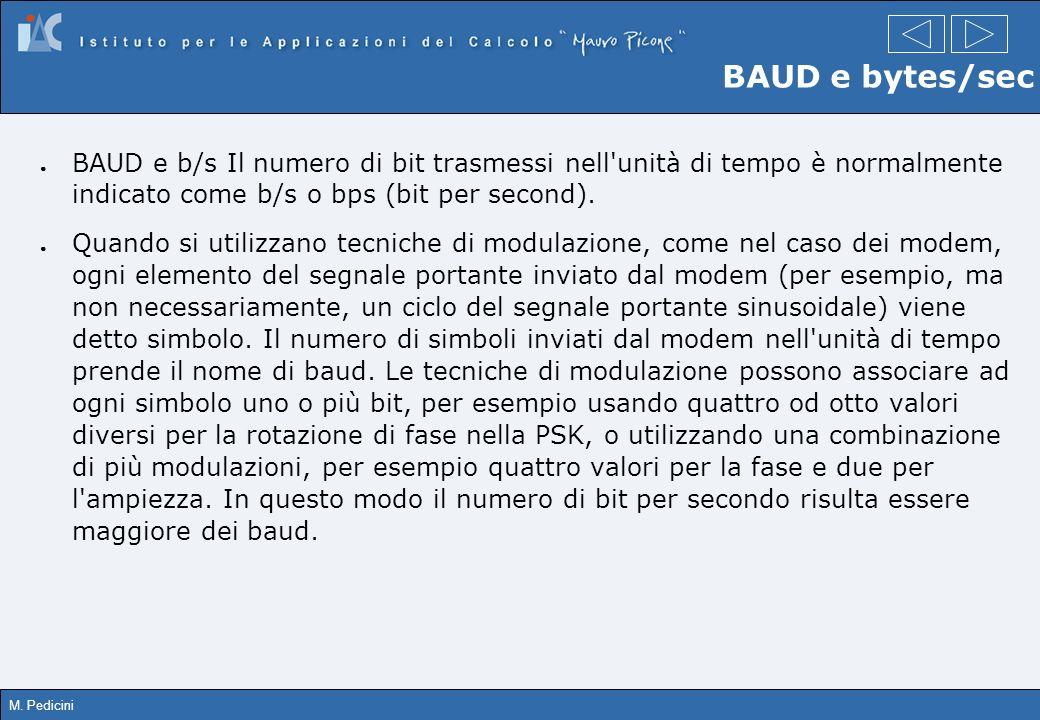 BAUD e bytes/sec BAUD e b/s Il numero di bit trasmessi nell unità di tempo è normalmente indicato come b/s o bps (bit per second).