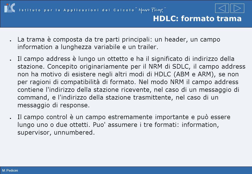 HDLC: formato trama La trama è composta da tre parti principali: un header, un campo information a lunghezza variabile e un trailer.
