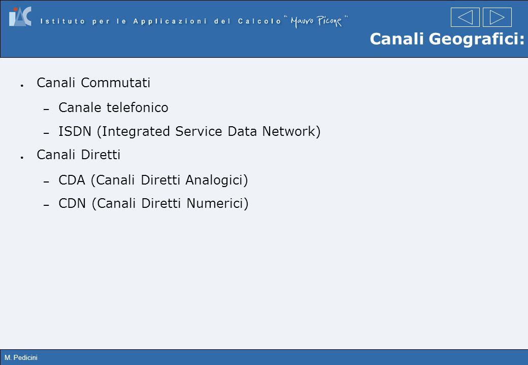Canali Geografici: Canali Commutati Canale telefonico