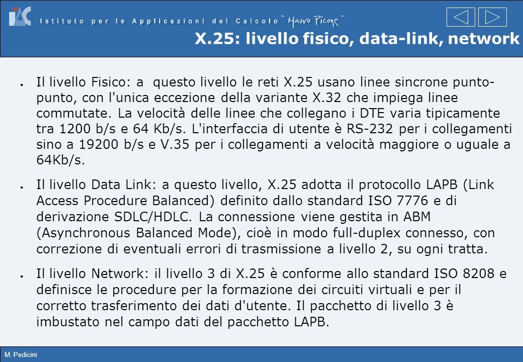 X.25: livello fisico, data-link, network