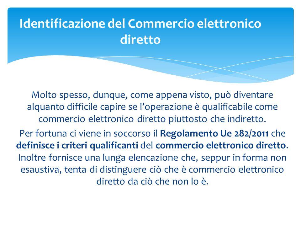 Identificazione del Commercio elettronico diretto