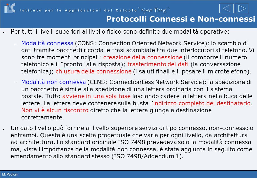 Protocolli Connessi e Non-connessi