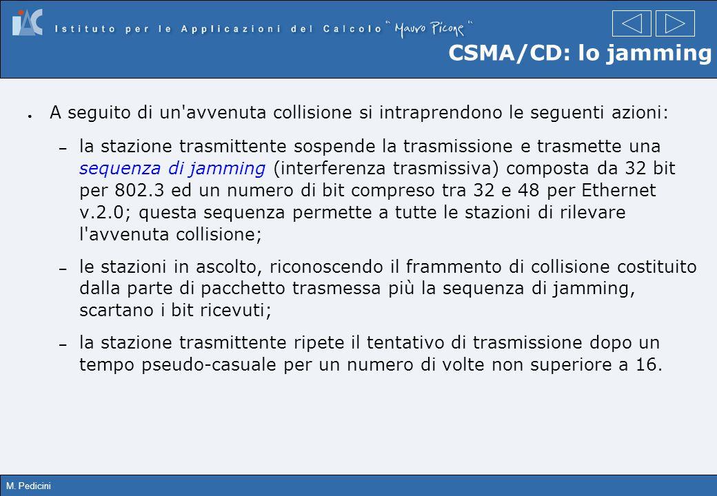 CSMA/CD: lo jamming A seguito di un avvenuta collisione si intraprendono le seguenti azioni: