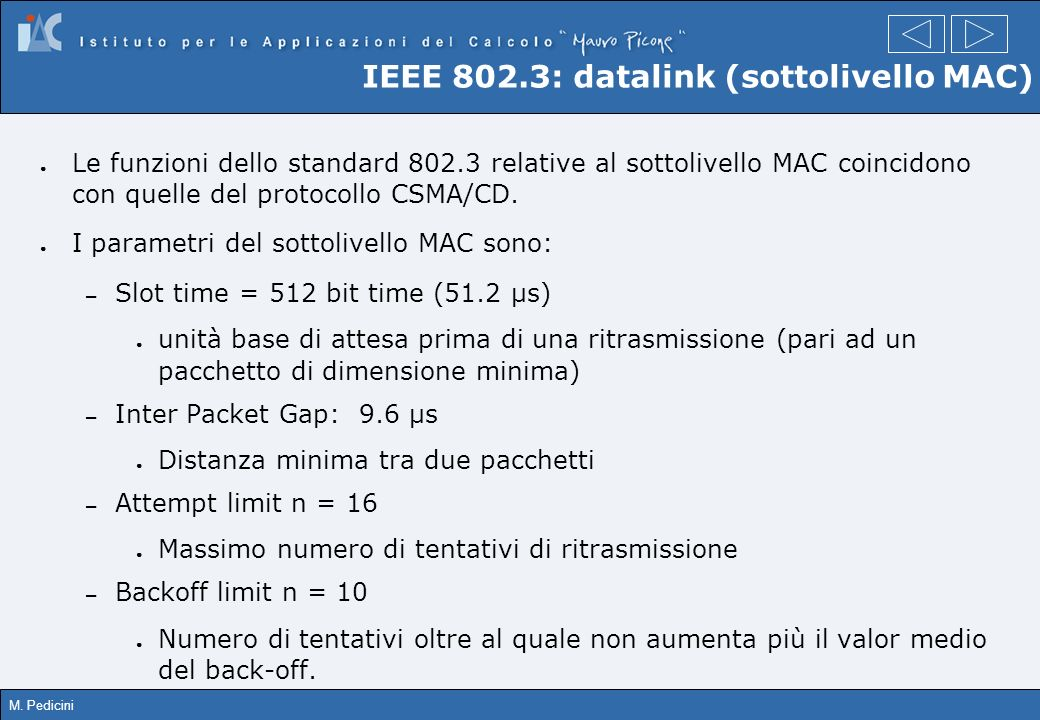 IEEE 802.3: datalink (sottolivello MAC)