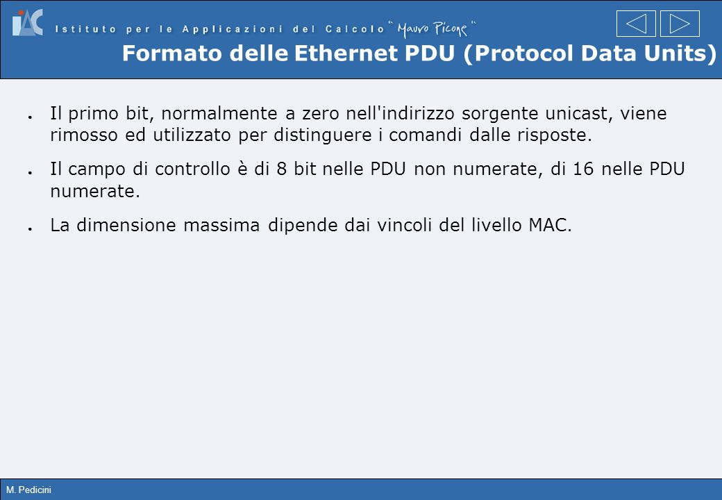 Formato delle Ethernet PDU (Protocol Data Units)