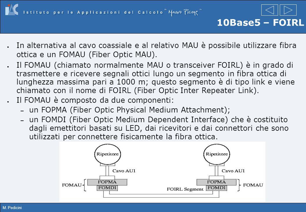 10Base5 – FOIRLIn alternativa al cavo coassiale e al relativo MAU è possibile utilizzare fibra ottica e un FOMAU (Fiber Optic MAU).
