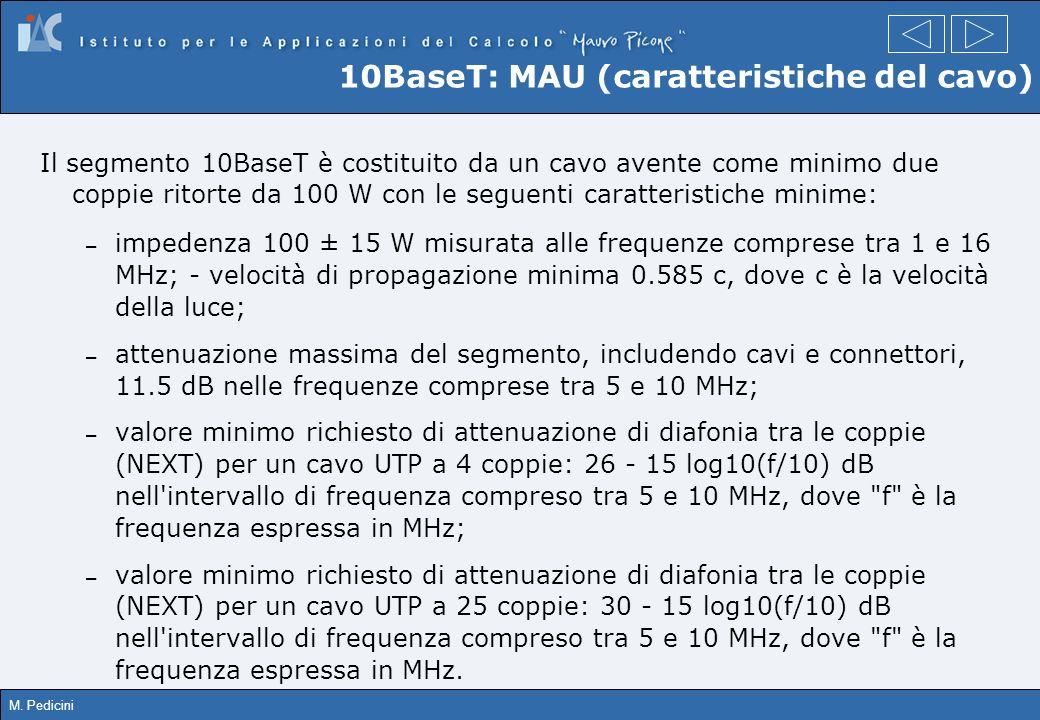 10BaseT: MAU (caratteristiche del cavo)