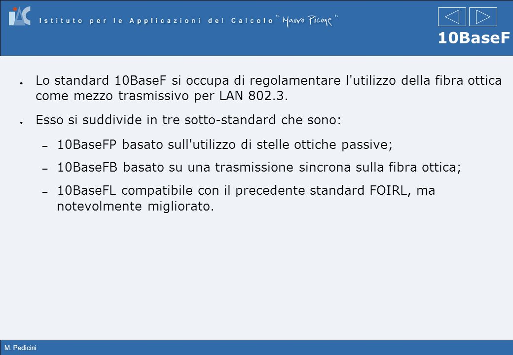 10BaseF Lo standard 10BaseF si occupa di regolamentare l utilizzo della fibra ottica come mezzo trasmissivo per LAN 802.3.