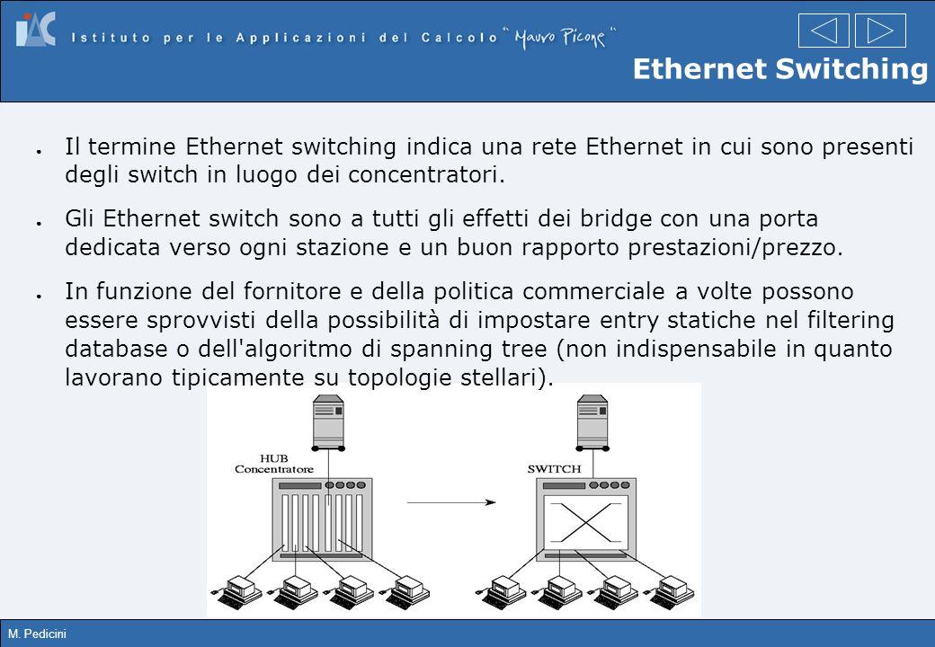 Ethernet Switching Il termine Ethernet switching indica una rete Ethernet in cui sono presenti degli switch in luogo dei concentratori.