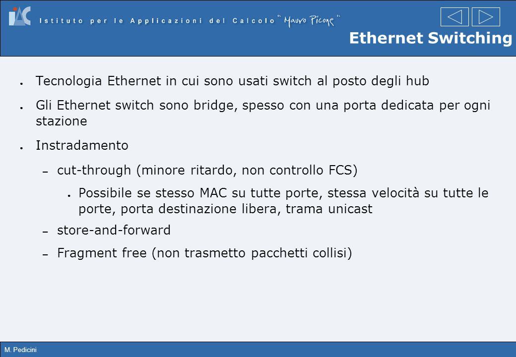Ethernet Switching Tecnologia Ethernet in cui sono usati switch al posto degli hub.
