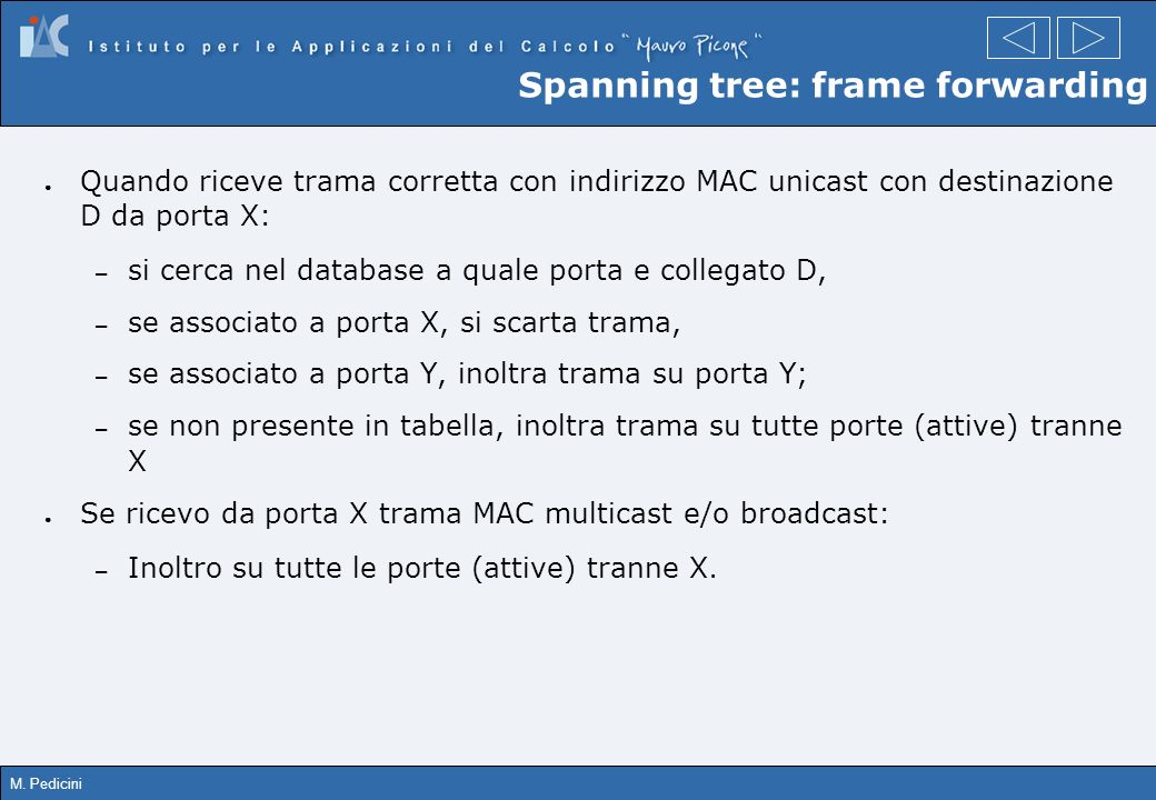 Spanning tree: frame forwarding