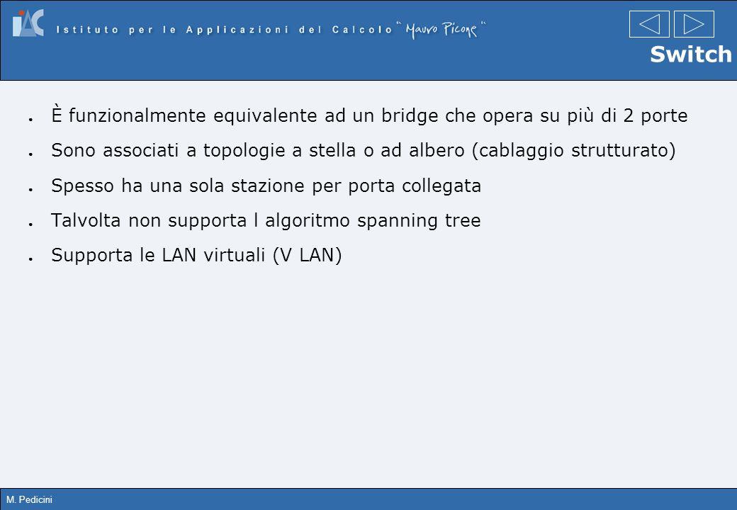 SwitchÈ funzionalmente equivalente ad un bridge che opera su più di 2 porte. Sono associati a topologie a stella o ad albero (cablaggio strutturato)