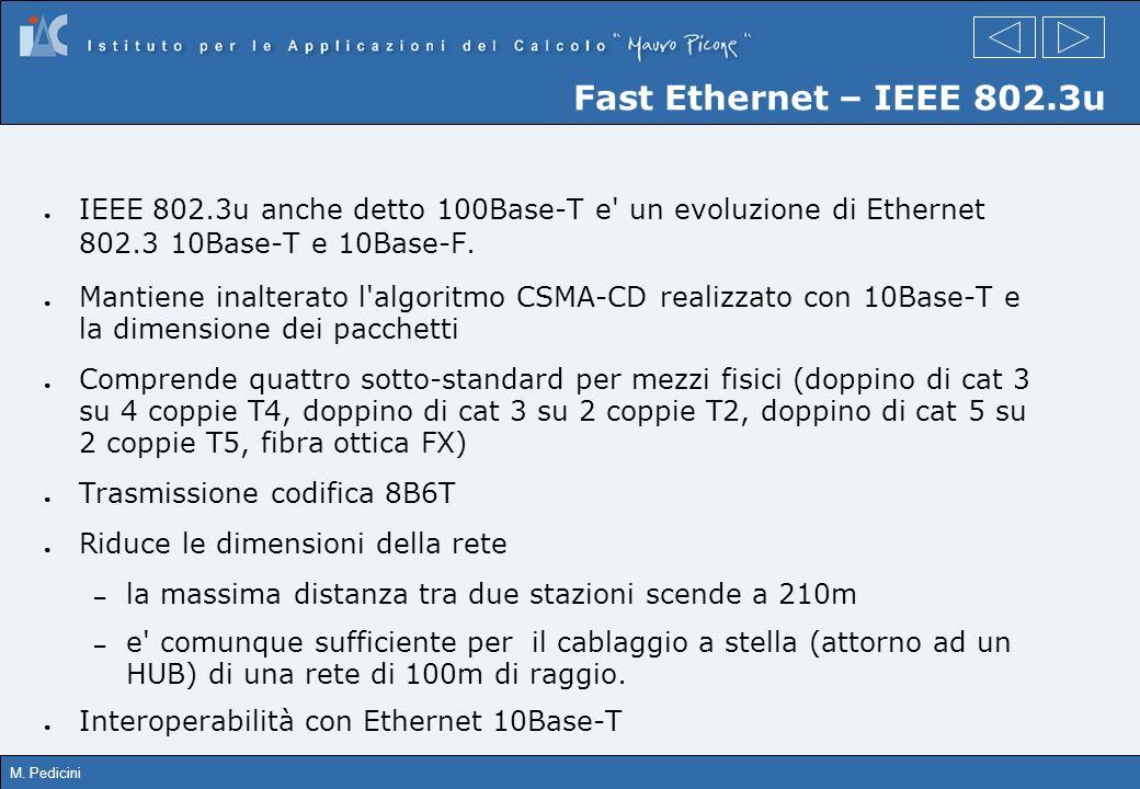 Fast Ethernet – IEEE 802.3u IEEE 802.3u anche detto 100Base-T e un evoluzione di Ethernet 802.3 10Base-T e 10Base-F.