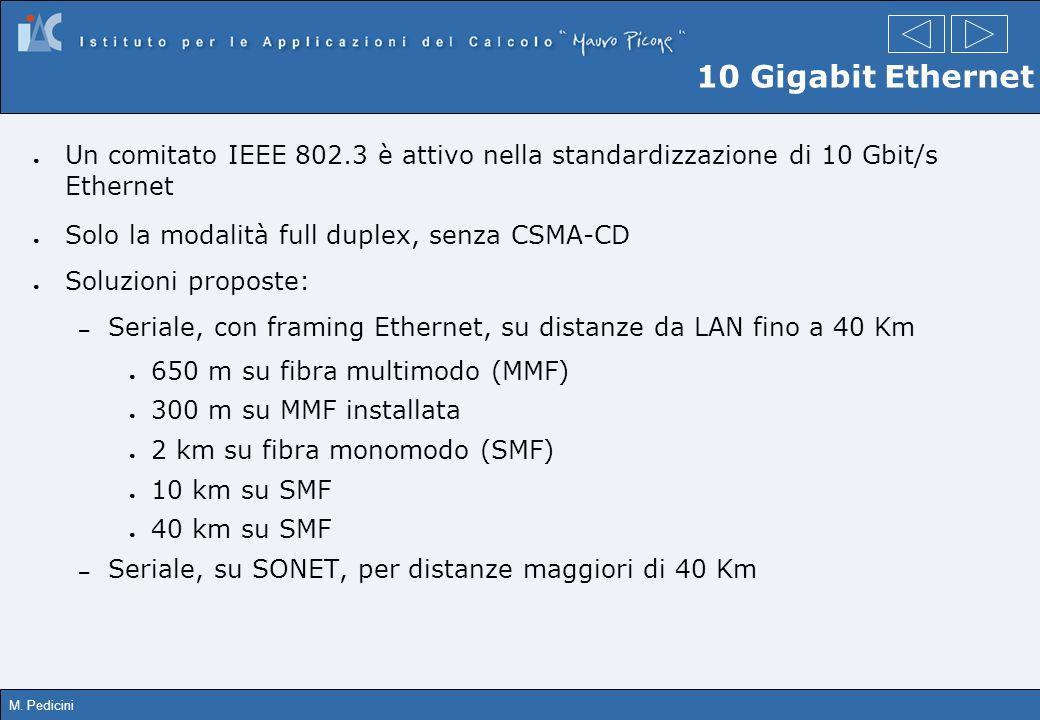 10 Gigabit Ethernet Un comitato IEEE 802.3 è attivo nella standardizzazione di 10 Gbit/s Ethernet.