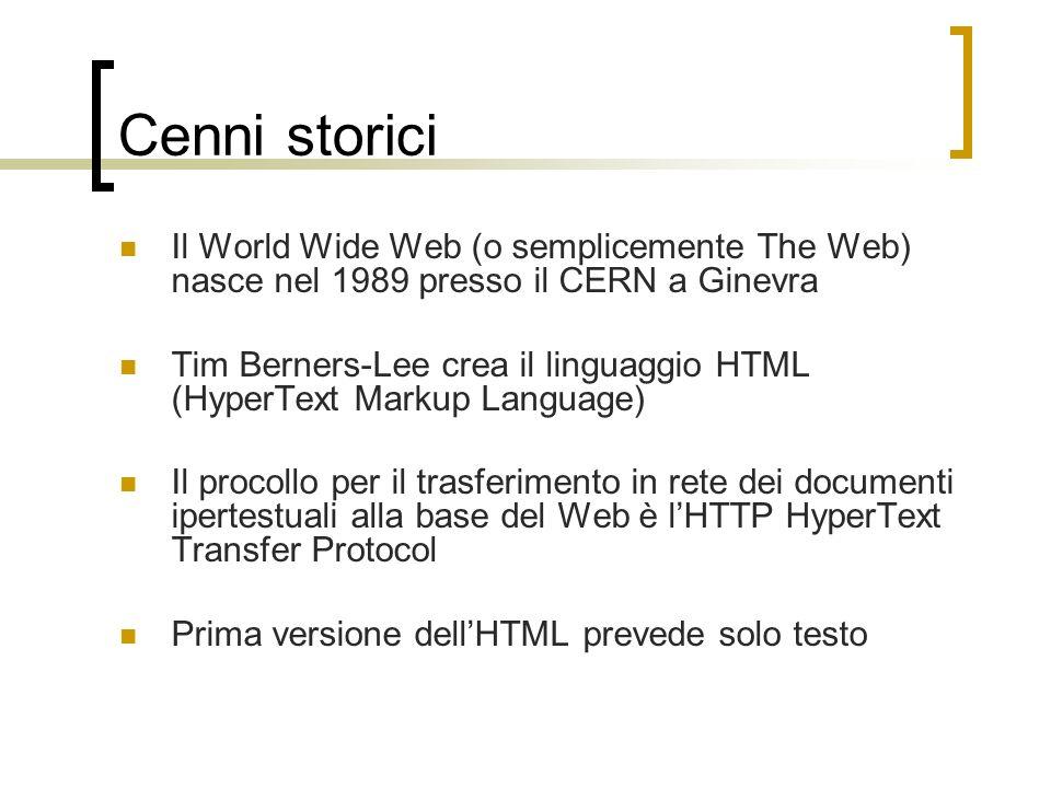 Cenni storici Il World Wide Web (o semplicemente The Web) nasce nel 1989 presso il CERN a Ginevra.