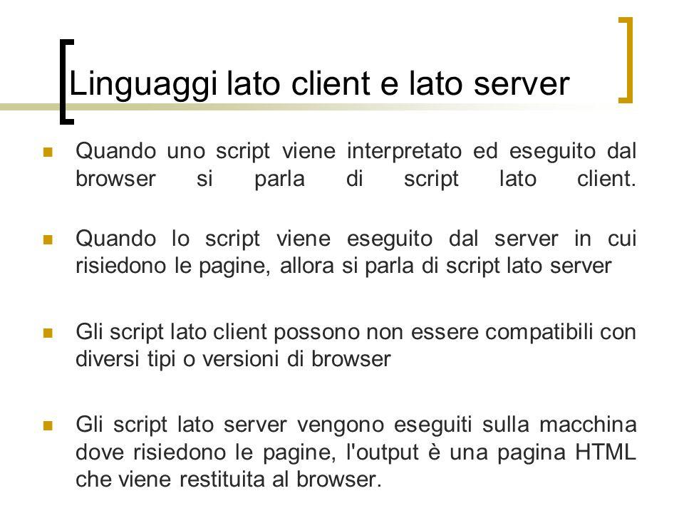 Linguaggi lato client e lato server