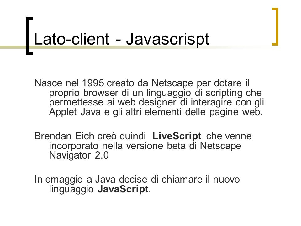 Lato-client - Javascrispt