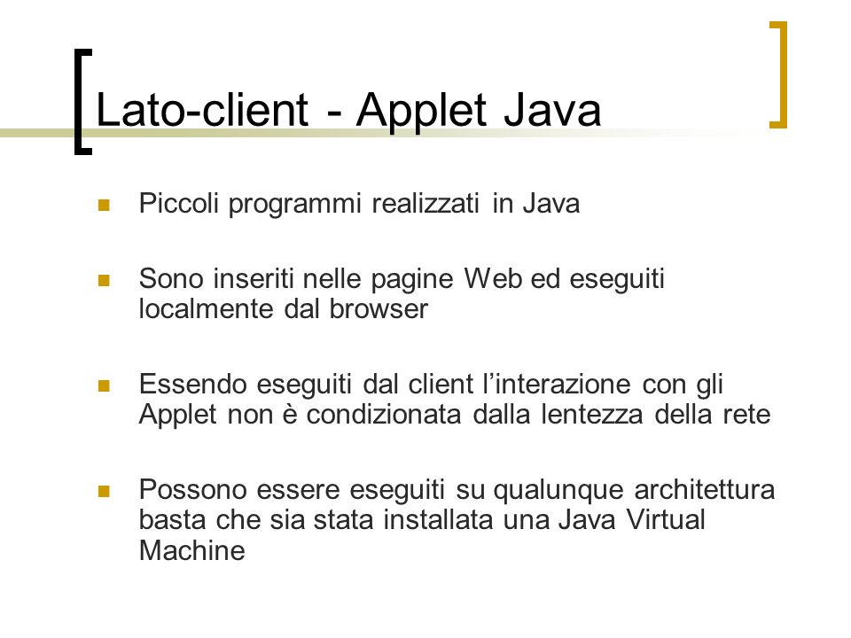 Lato-client - Applet Java