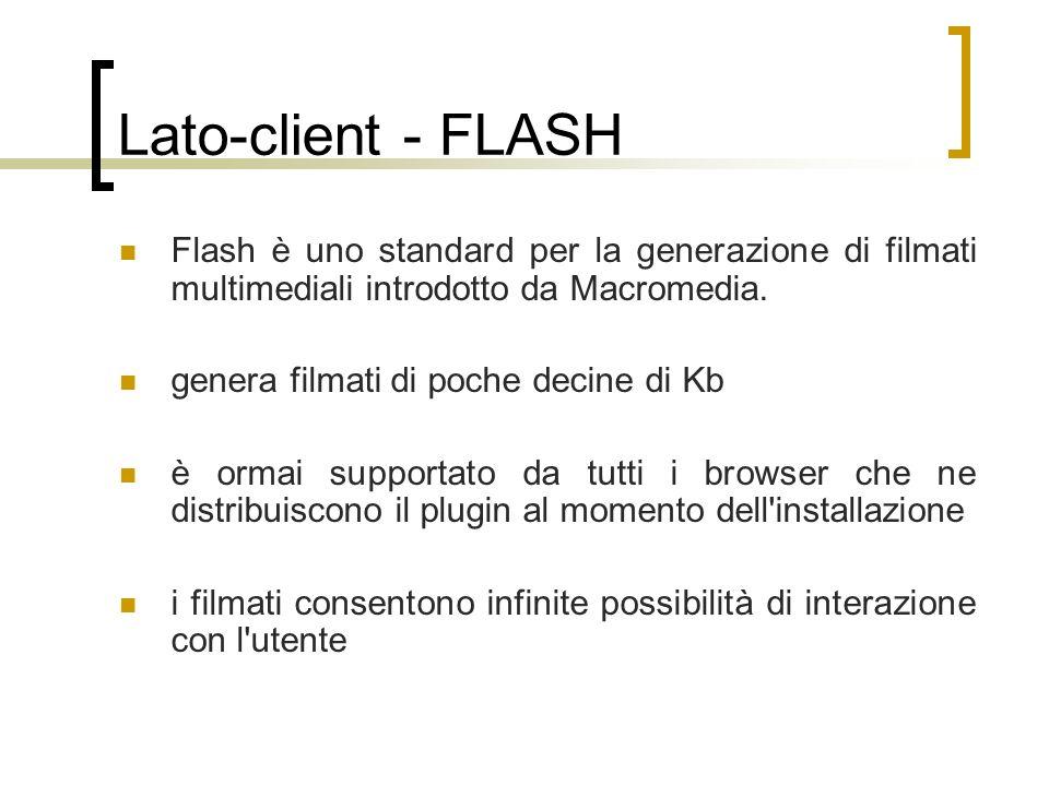 Lato-client - FLASH Flash è uno standard per la generazione di filmati multimediali introdotto da Macromedia.