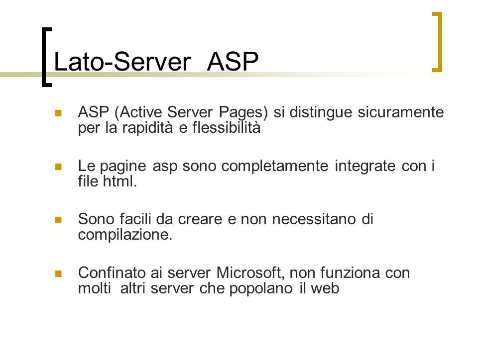 Lato-Server ASP ASP (Active Server Pages) si distingue sicuramente per la rapidità e flessibilità.