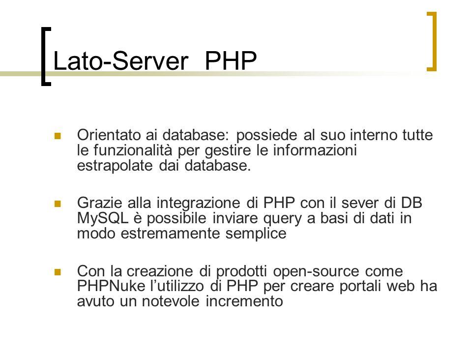Lato-Server PHP Orientato ai database: possiede al suo interno tutte le funzionalità per gestire le informazioni estrapolate dai database.
