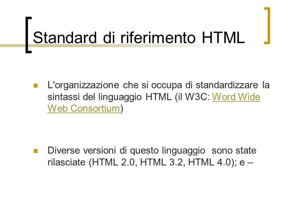 Standard di riferimento HTML