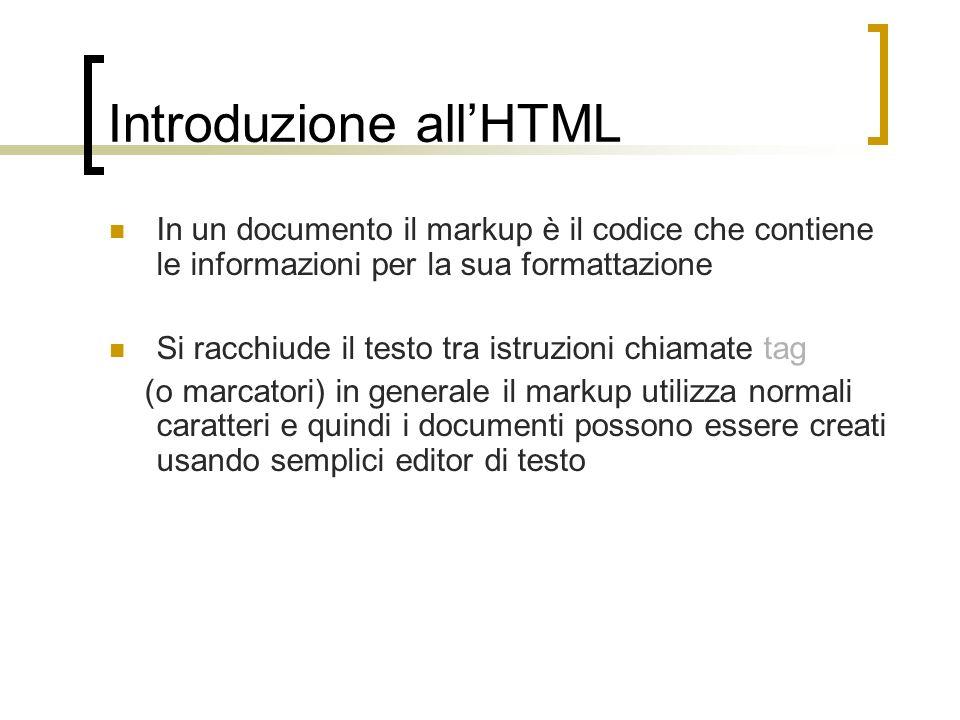 Introduzione all'HTML