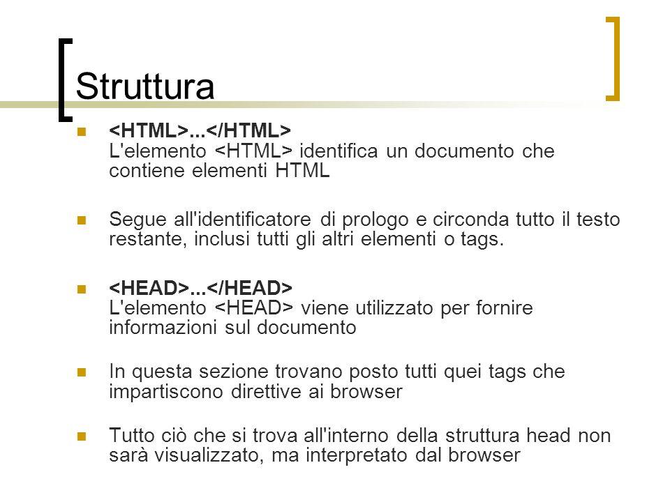 Struttura <HTML>...</HTML> L elemento <HTML> identifica un documento che contiene elementi HTML.