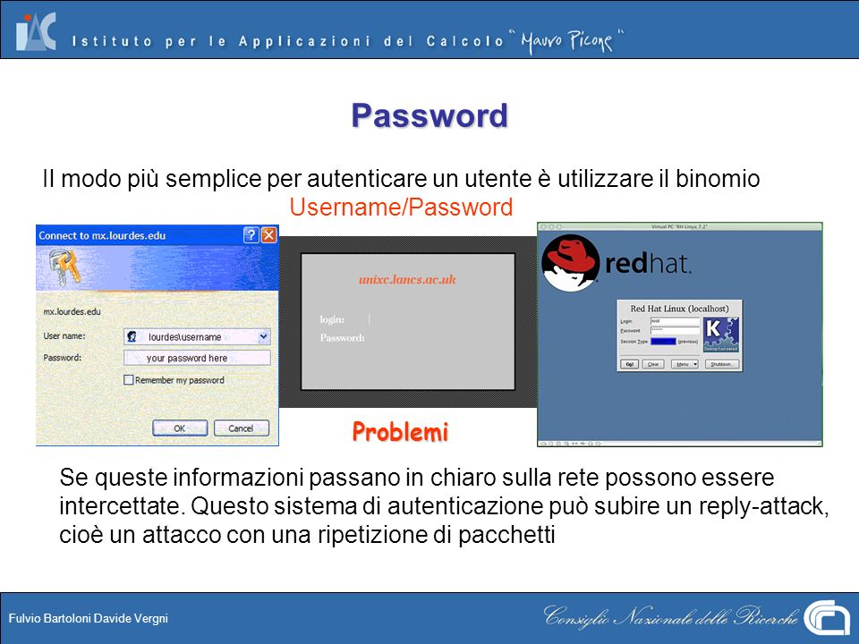 PasswordIl modo più semplice per autenticare un utente è utilizzare il binomio Username/Password. Problemi.