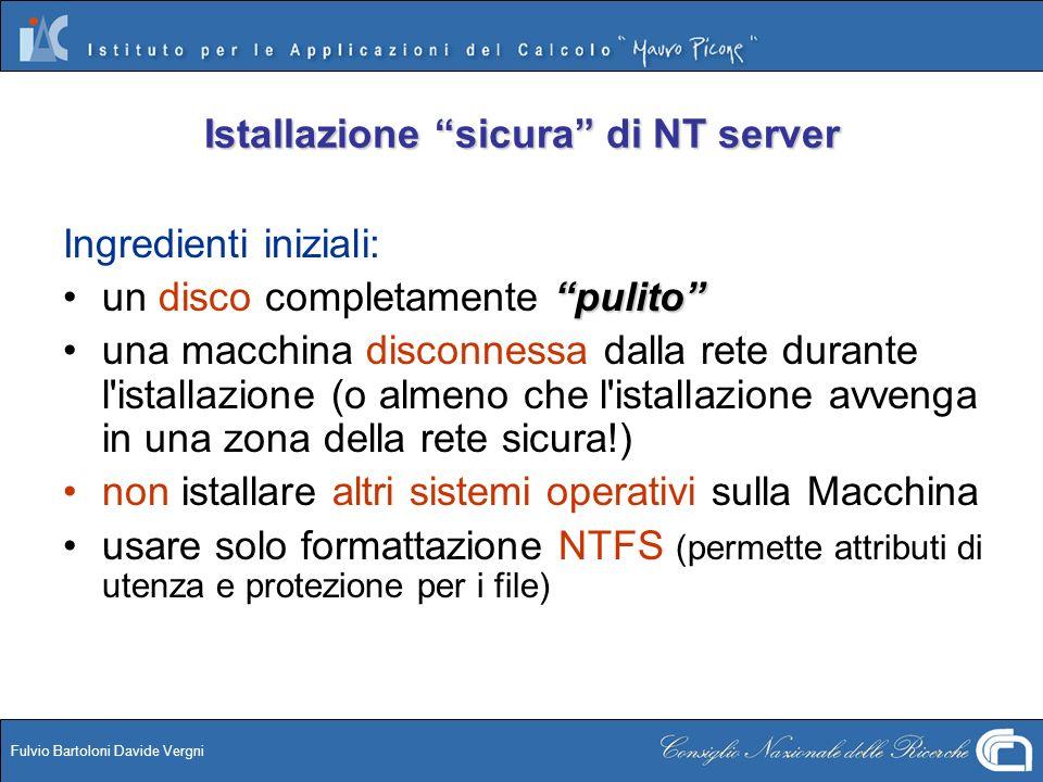 Istallazione sicura di NT server