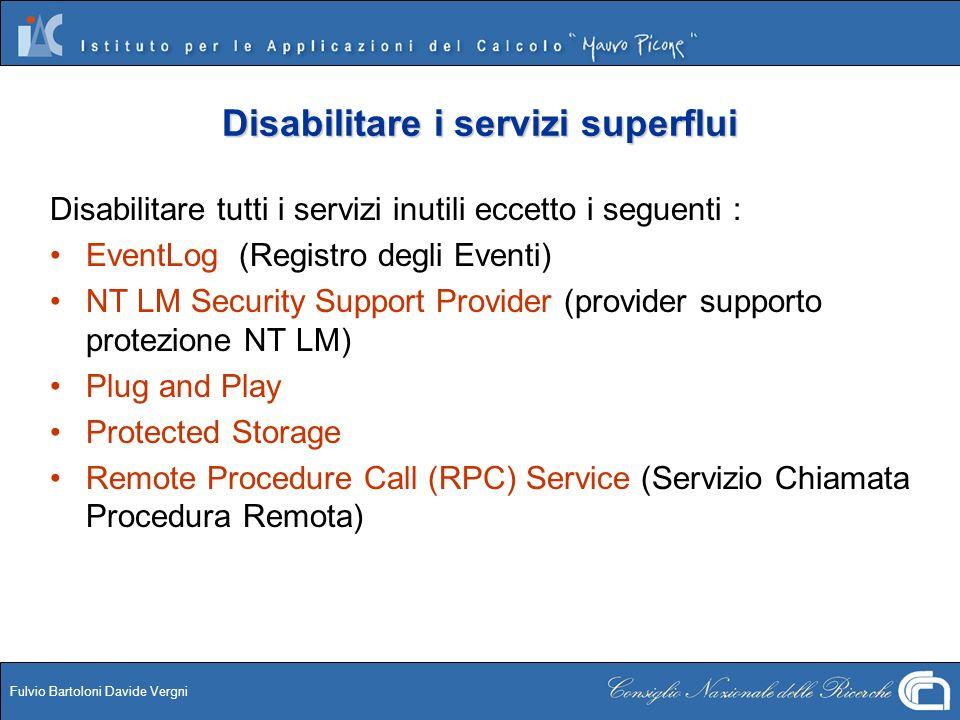 Disabilitare i servizi superflui