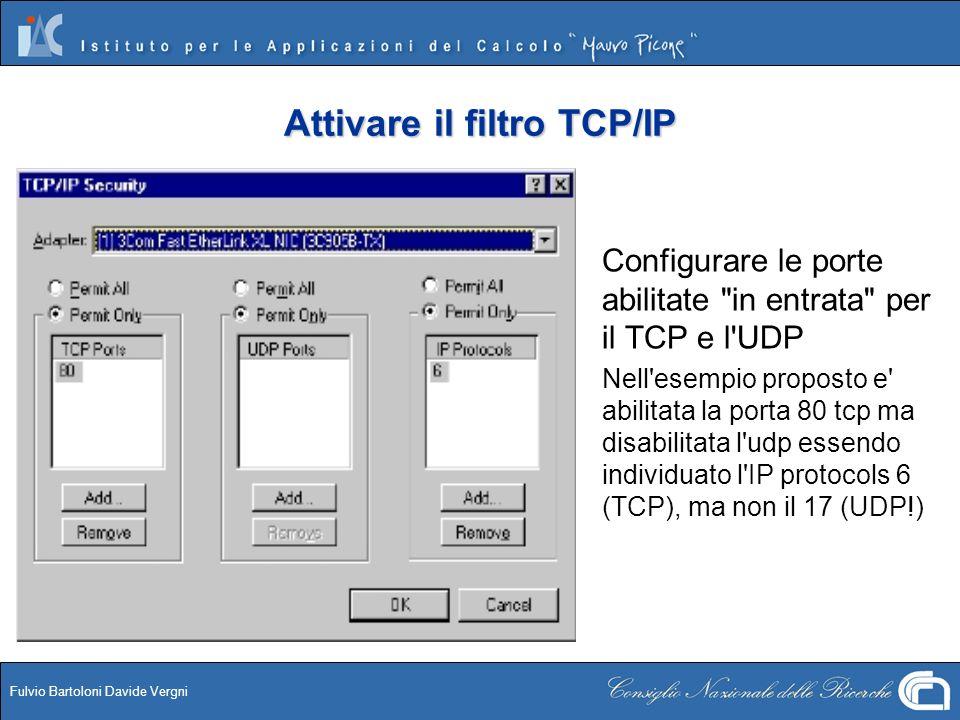 Attivare il filtro TCP/IP
