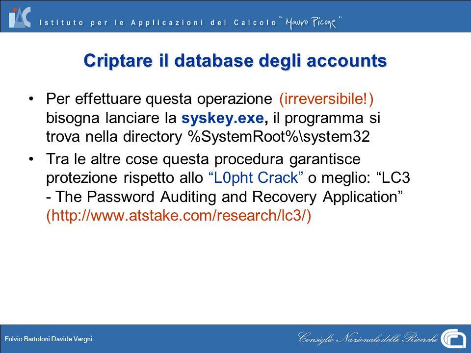 Criptare il database degli accounts