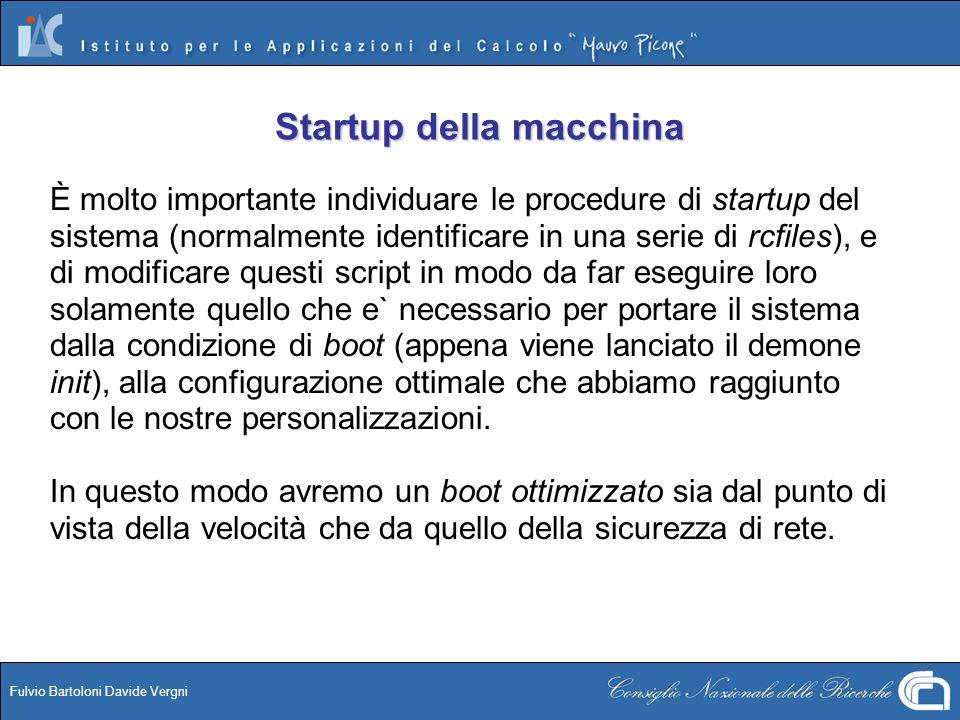 Startup della macchina