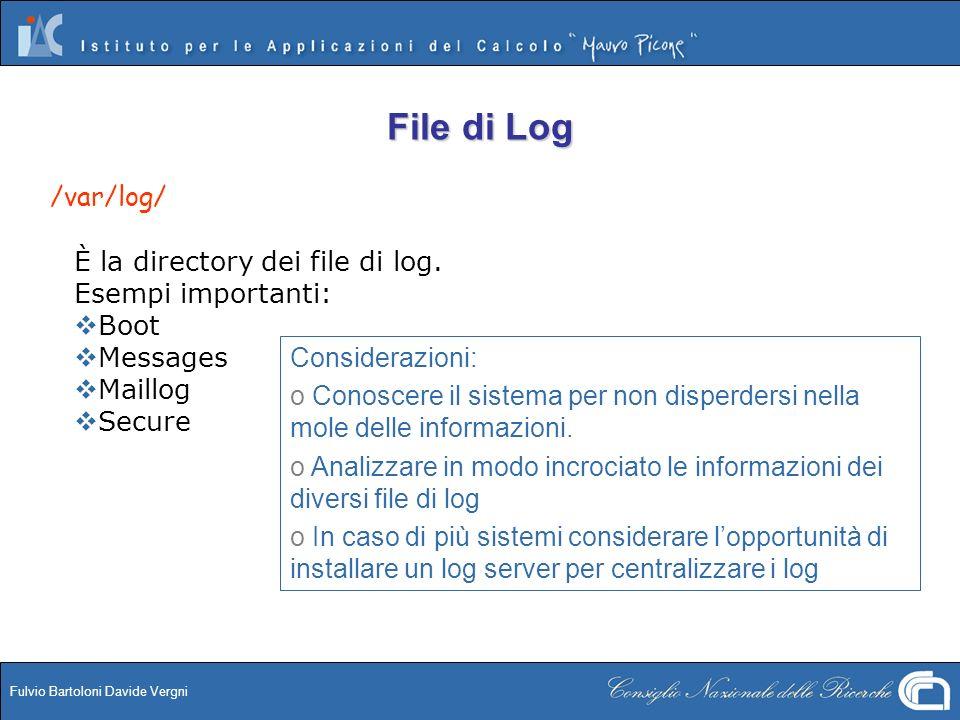 File di Log /var/log/ È la directory dei file di log.