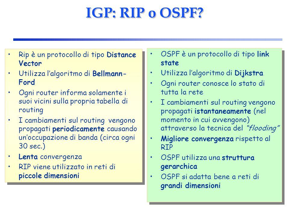IGP: RIP o OSPF Rip è un protocollo di tipo Distance Vector