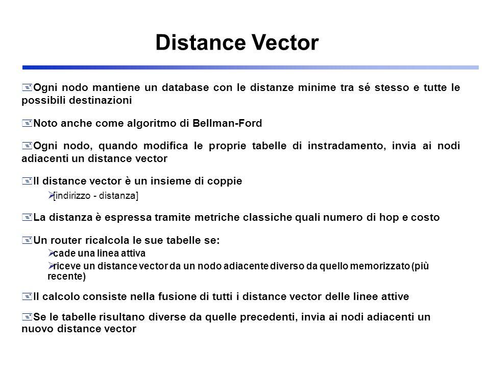 Distance Vector Ogni nodo mantiene un database con le distanze minime tra sé stesso e tutte le possibili destinazioni.