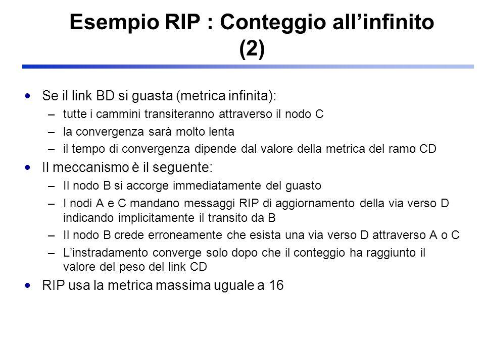 Esempio RIP : Conteggio all'infinito (2)