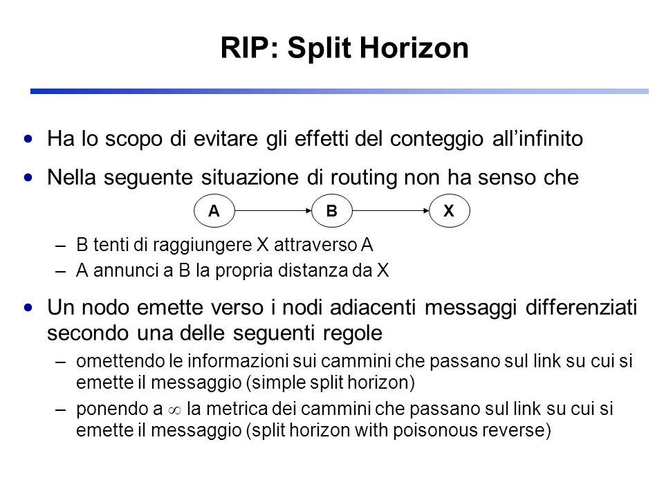 RIP: Split Horizon Ha lo scopo di evitare gli effetti del conteggio all'infinito. Nella seguente situazione di routing non ha senso che.