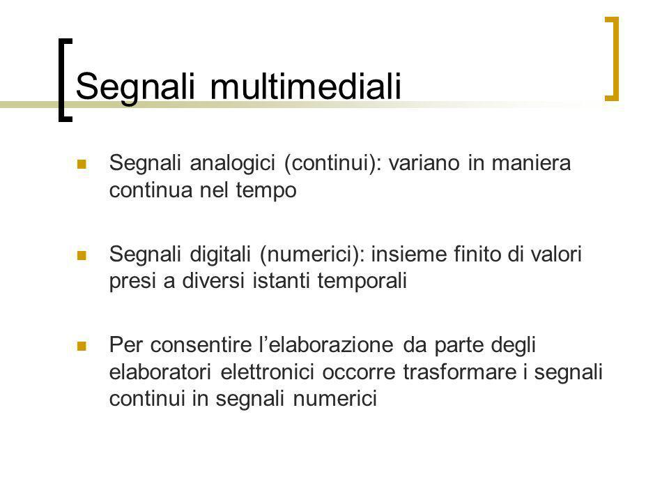 Segnali multimediali Segnali analogici (continui): variano in maniera continua nel tempo.