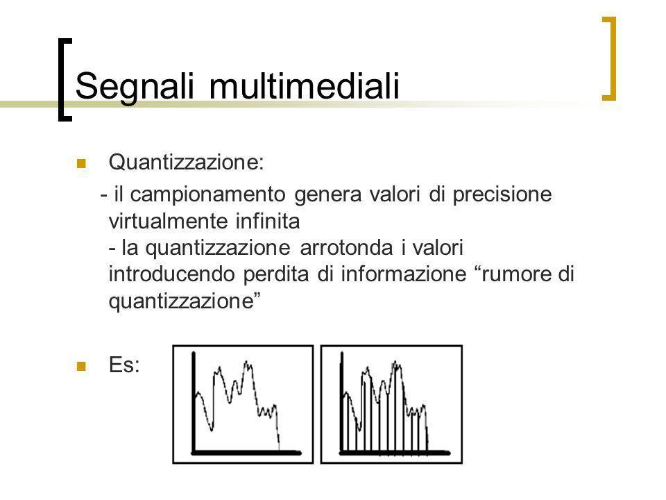 Segnali multimediali Quantizzazione: