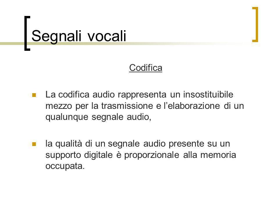 Segnali vocali Codifica