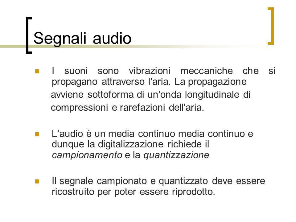 Segnali audio I suoni sono vibrazioni meccaniche che si propagano attraverso l aria. La propagazione.