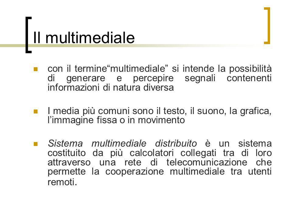 Il multimedialecon il termine multimediale si intende la possibilità di generare e percepire segnali contenenti informazioni di natura diversa.