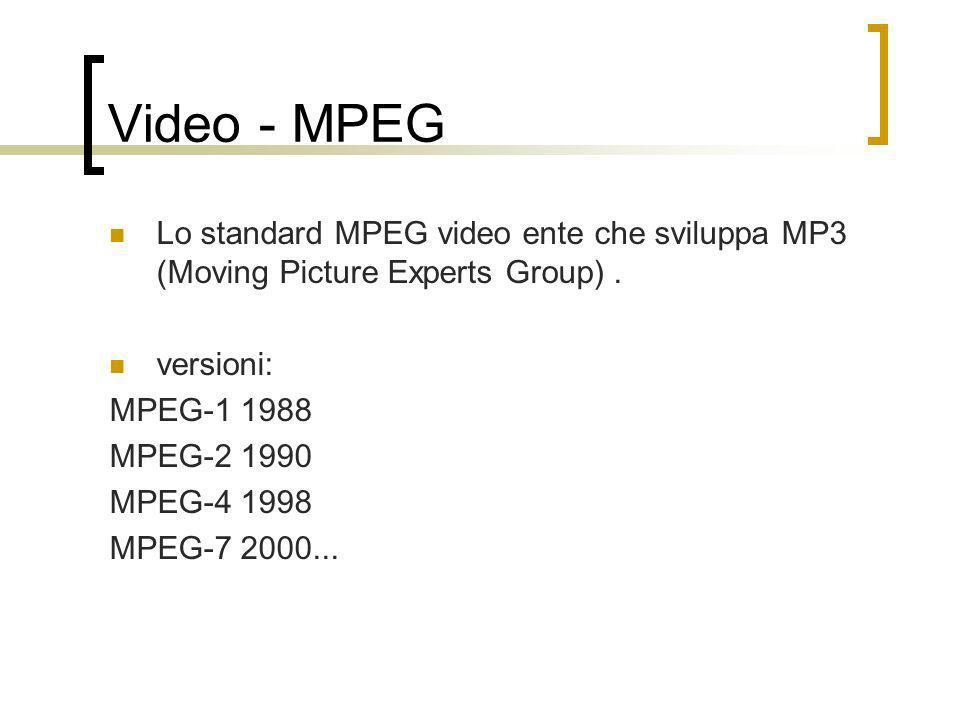 Video - MPEGLo standard MPEG video ente che sviluppa MP3 (Moving Picture Experts Group) . versioni: