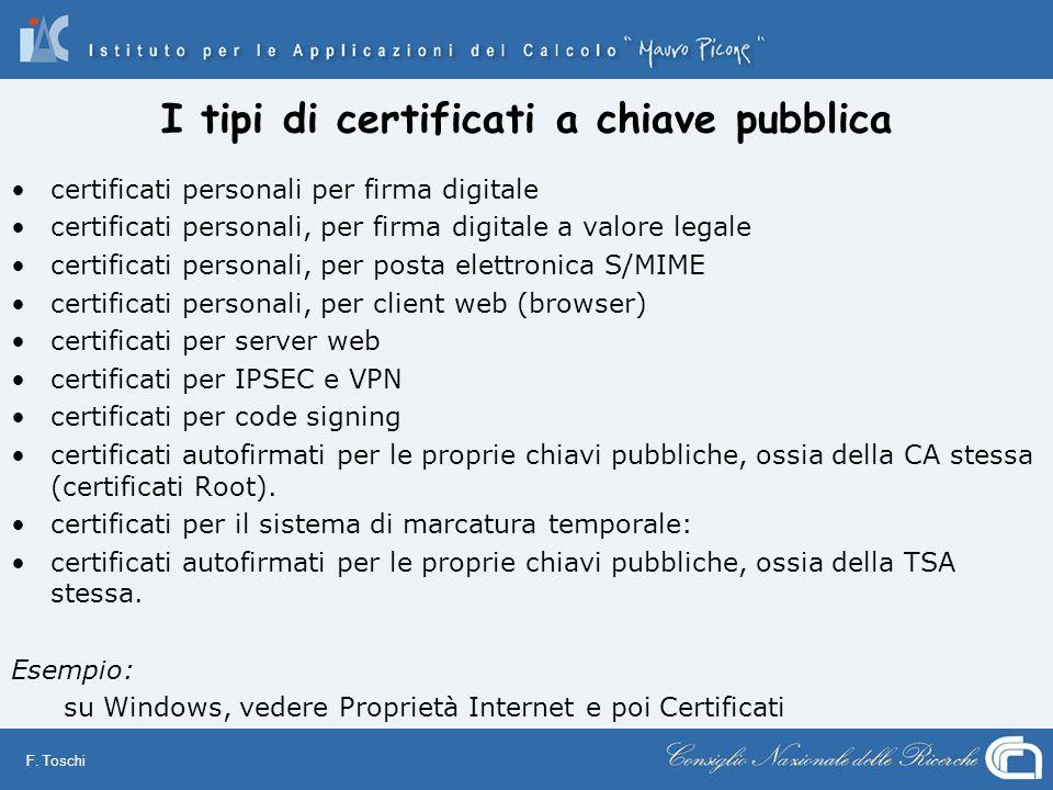 I tipi di certificati a chiave pubblica
