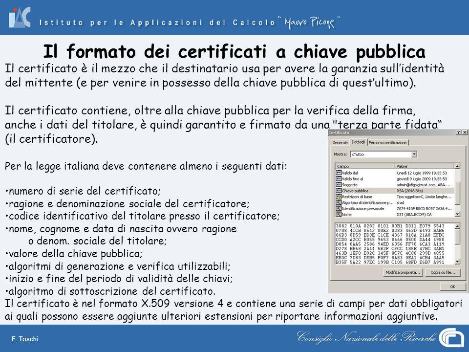 Il formato dei certificati a chiave pubblica